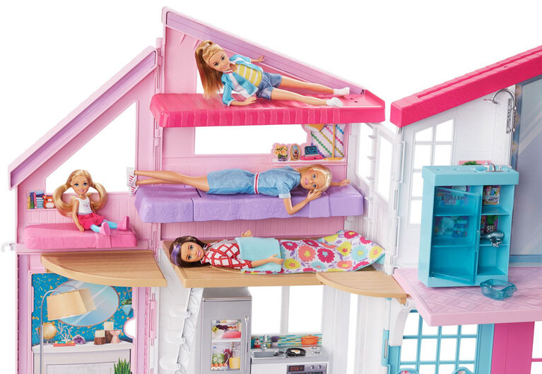 Barbie Malibu House 2-Story Dollhouse with Transformation Features and 25+ Pieces - R Exclusive