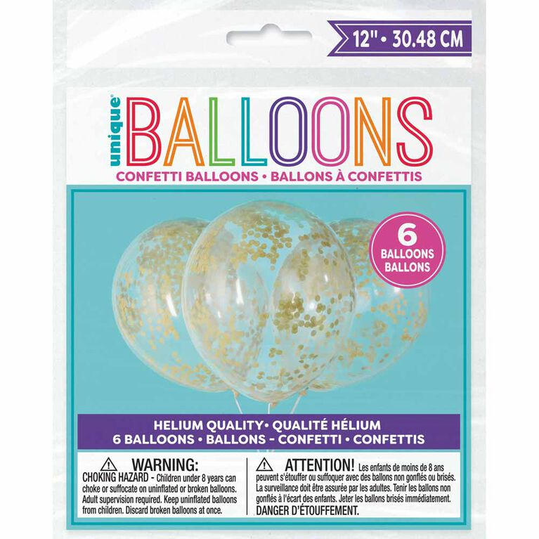 """Clear Balloons with Gold Confetti 12"""", 6 pieces"""