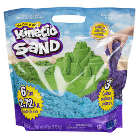 Kinetic Sand, Paquet de 3 couleurs de sable sensoriel Play sable moulable de 6 lb (bleu, vert, violet)