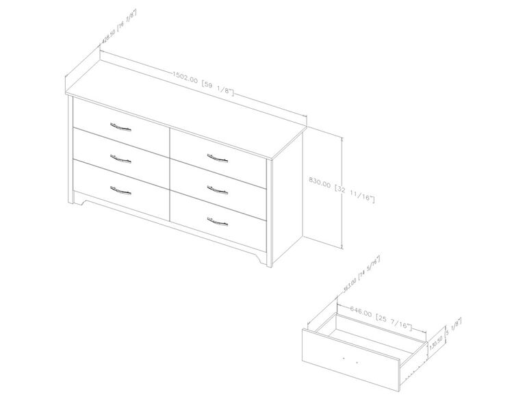 Fusion 6-Drawer Double Dresser- Pure White