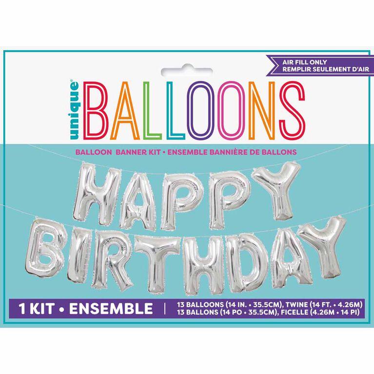 "Silver Happy Bday Balloon Banner 14"" - English Edition"