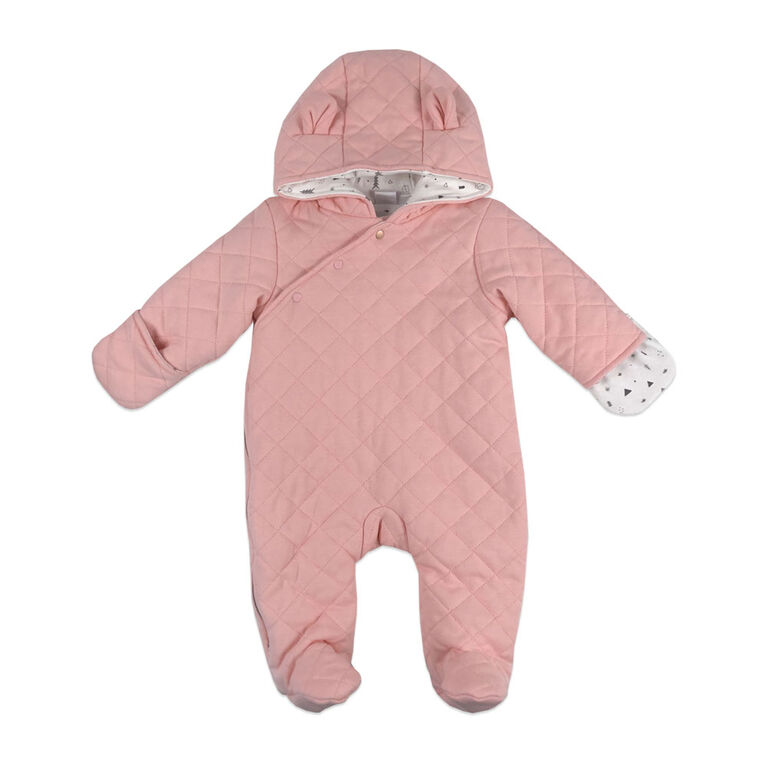 Rococo Quilted Pramsuit - Pink, 0-3 Months