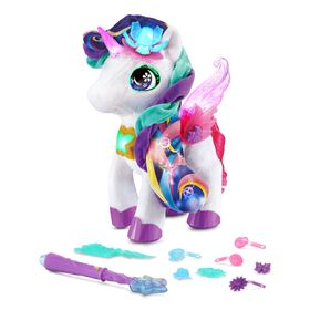 VTech Styla the Bloom Bright Unicorn Interactive Toy - French Edition, Electronic Singing Pet with Magic Wand and Hair Accessories