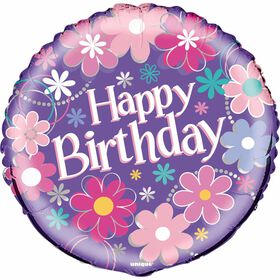 "Birthday Blossoms Round Foil 18"" - English Edition"