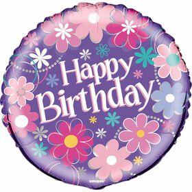 "Ballon aluminium rond, 18 "" - Birthday Blossoms - Édition anglaise"