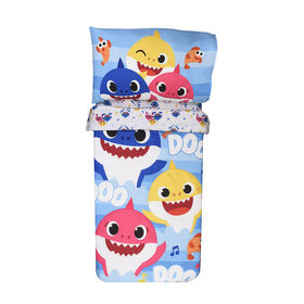 3 Piece Toddler Bedding Set Baby Shark Standard Crib Bedding Set, Includes Soft Microfiber Reversible Comforter, Fitted Sheet, Pillowcase for Kids by Expressions