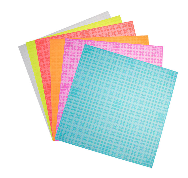 "Strictly Briks - Stackable Baseplates - 10"" x 10"" - 32 x 32 pegs - 6 Baseplates - Clear Colours"