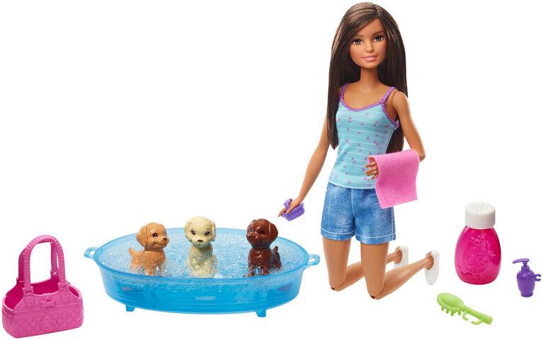 Barbie Doll & Puppy Bath Playset