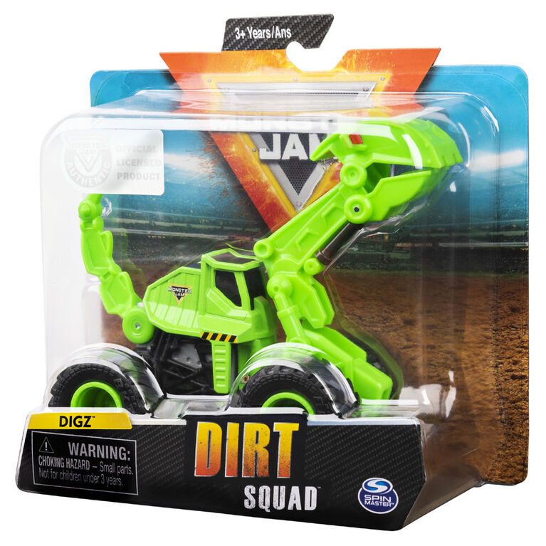 Monster Jam, Official Dugg Dirt Squad Excavator Monster Truck with Moving Parts, 1:64 Scale Die-Cast Vehicle