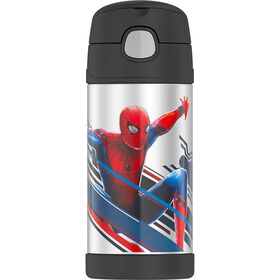 Thermos FUNtainer Stainless Steel Water Bottle with Straw, Spider-Man