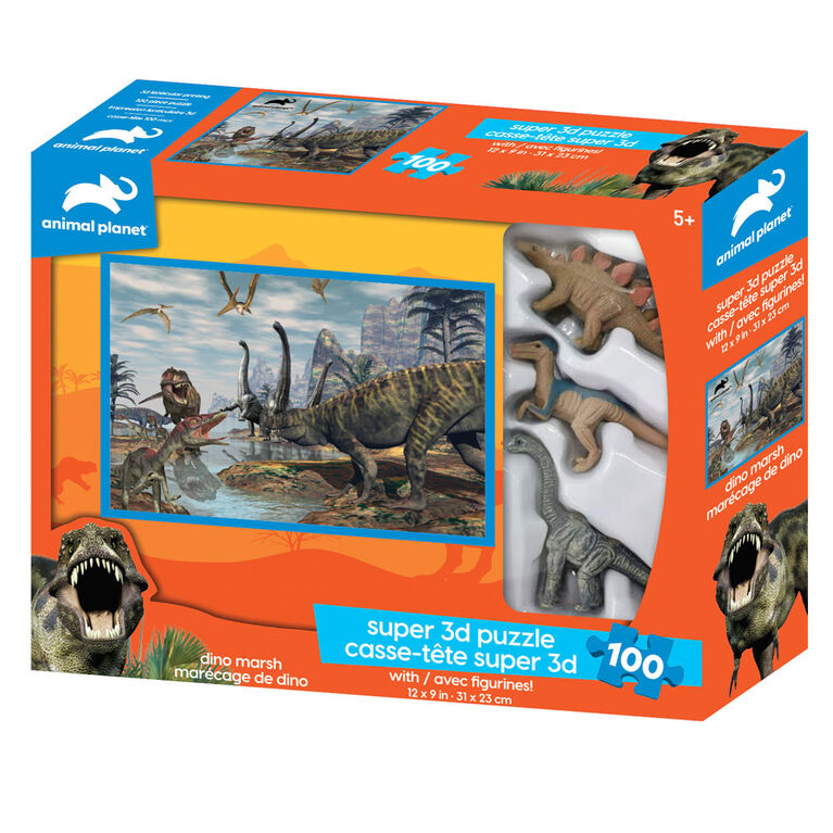 Animal Planet: Dino Marsh - 100 Piece 3D Puzzle with 3 Figures