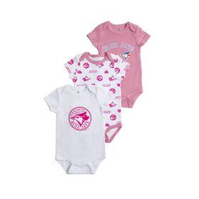 Snugabye Toronto Blue Jays 3 Piece Pink Infant Bodysuit Set 18 Months