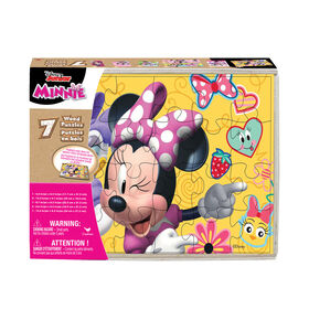 Disney Minnie Mouse, 7-Pack of Wood Puzzles with Wood Storage Tray