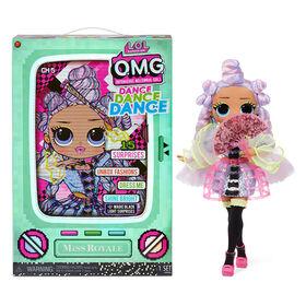 Poupée-mannequin Miss Royale LOL Surprise OMG Dance Dance Dance avec 15 surprises incluant une lampe à lumière noire magique, des chaussures, une brosse à cheveux, un socle de poupée et un emballage télé – pour les filles de 4 ans et +