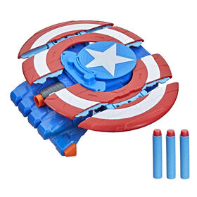 Marvel Avengers Mech Strike Captain America Strikeshot Shield Role Play Toy With 3 NERF Darts