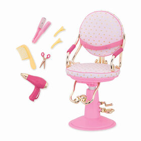 Our Generation, Sitting Pretty Salon Chair, Hairstyling Playset for 18-inch Dolls - Pink