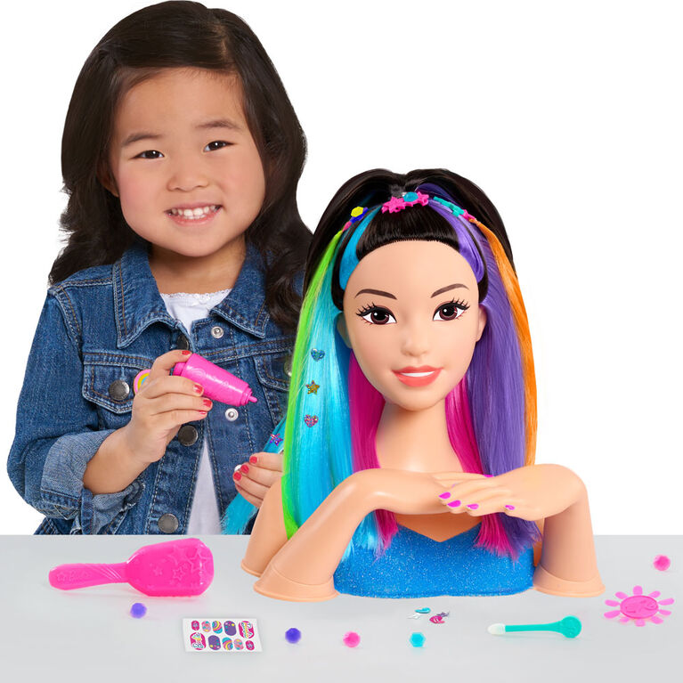 Barbie Rainbow Sparkle Deluxe Styling Head - Black Hair - R Exclusive