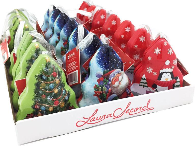 Laura Secord tree tin ornament with 2pc chocolates set