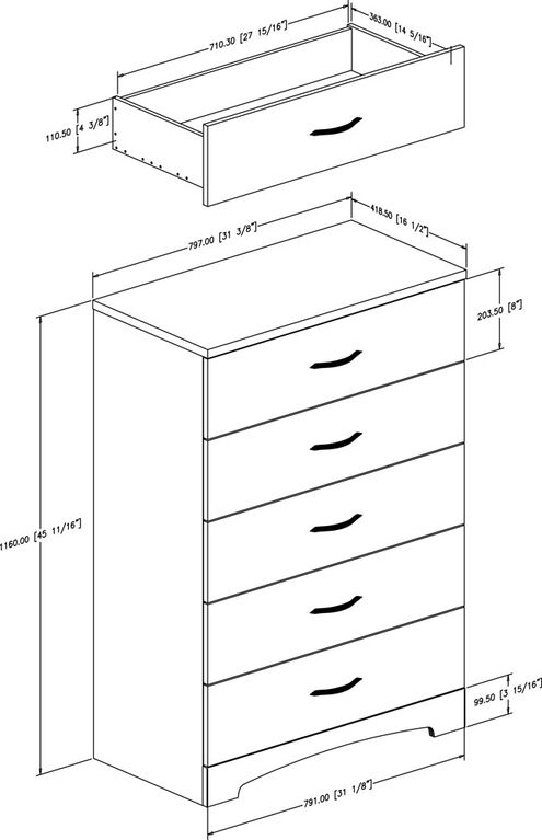 Step One 5-Drawer Chest Dresser- Pure White