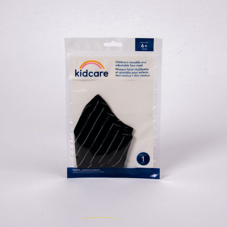 kidcare - Cloth Face Mask Youth 1-pack - Black Stripes