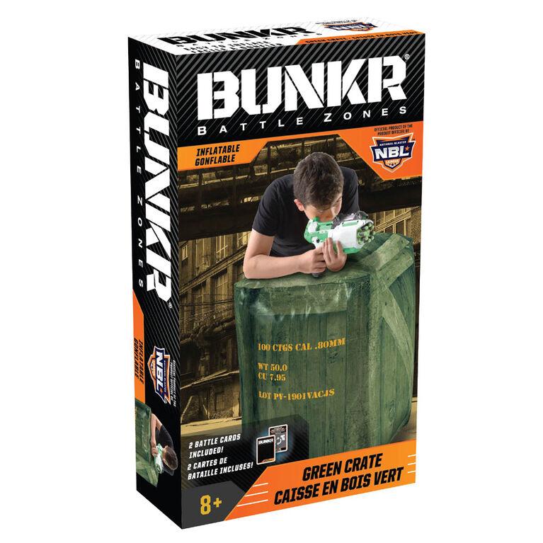 BUNKR  caisse en bois vert gonflable pour batailles de foudroyeurs