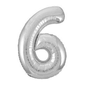 Silver Number 6 Shaped Foil Balloon 34""