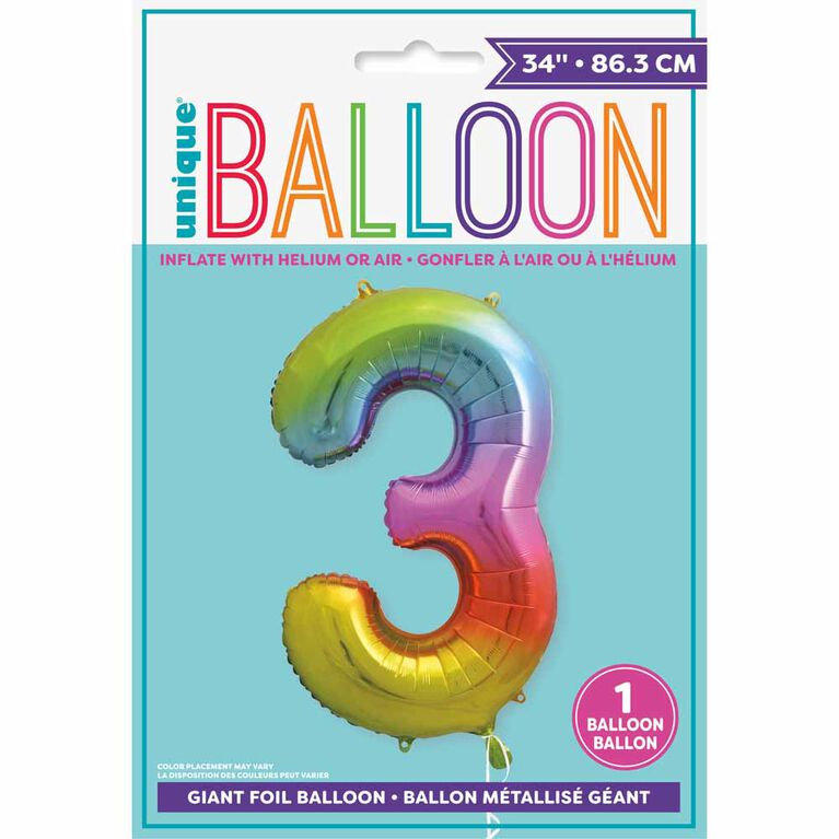 Rainbow Number 3 Shaped Foil Balloon 34""