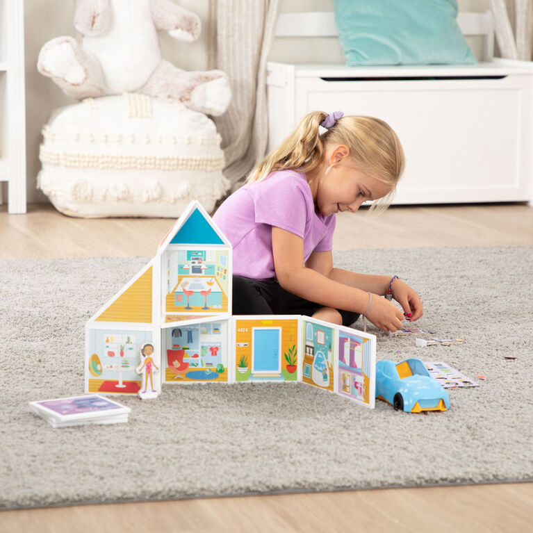 Melissa & Doug Magnetivity Magnetic Tiles Building Play Set - Our House with Vehicle