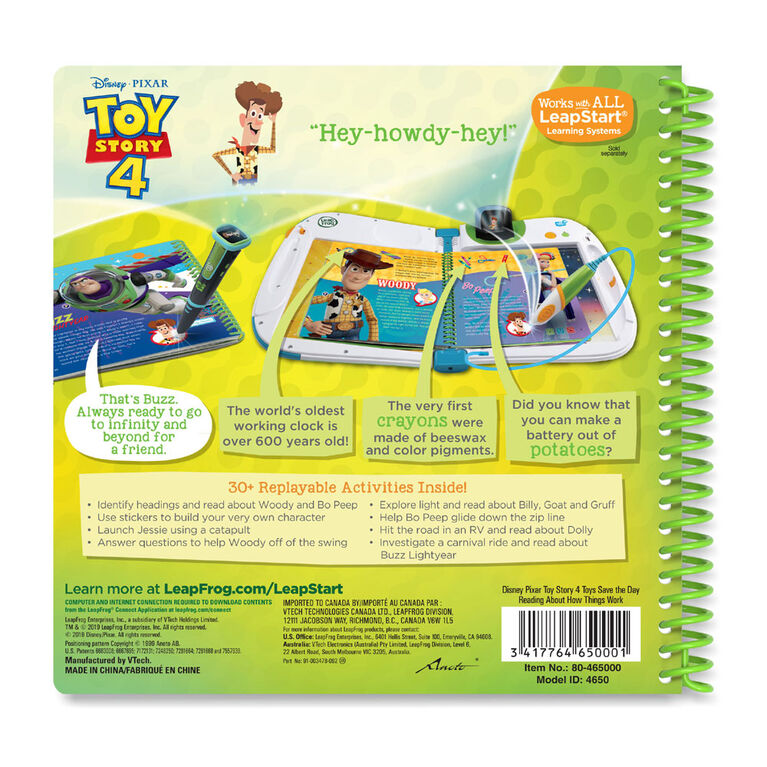 LeapFrog LeapStart Toy Story 4 Toys Save the Day Reading About How Things Work -  Édition anglaise