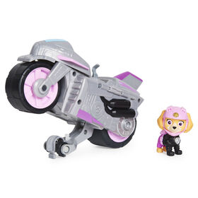 PAW Patrol, Moto Pups Skye's Deluxe Pull Back Motorcycle Vehicle with Wheelie Feature and Figure