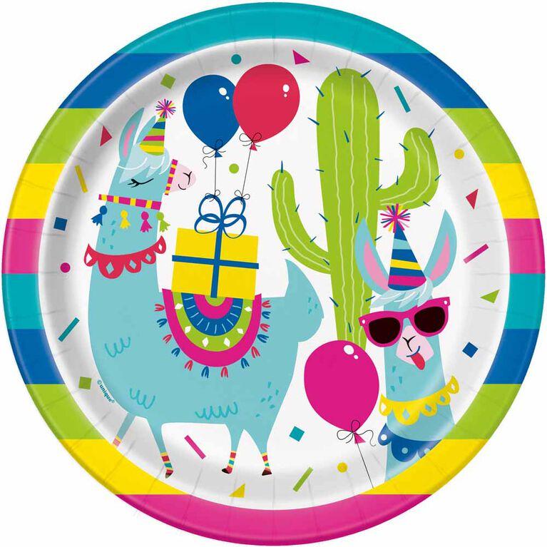 "Llama Birthday  9""  Plates, 8 pieces"