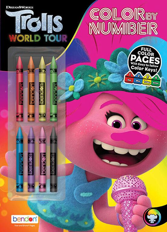 Livre de coloriage par numéros avec 8 crayons de cire - Les Trolls - Édition anglaise