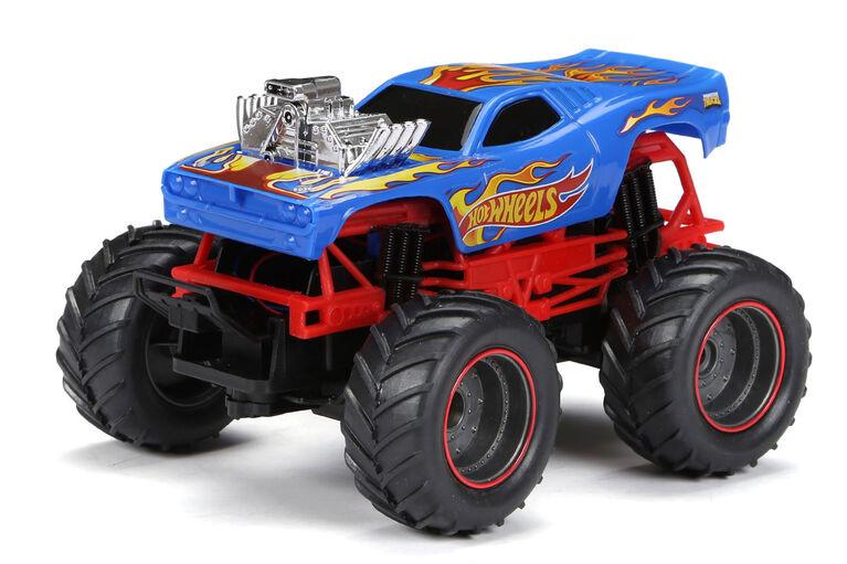 New Bright RC - Jouet radiocommandé à l'échelle Monster Truck Hot Wheels à l'échelle 1:24 - Paquet double. - Notre Exclusivité