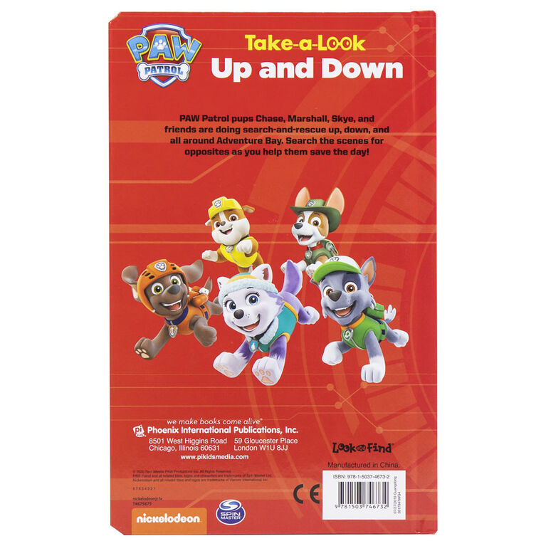 Take A Look Book Paw Patrol - Édition anglaise