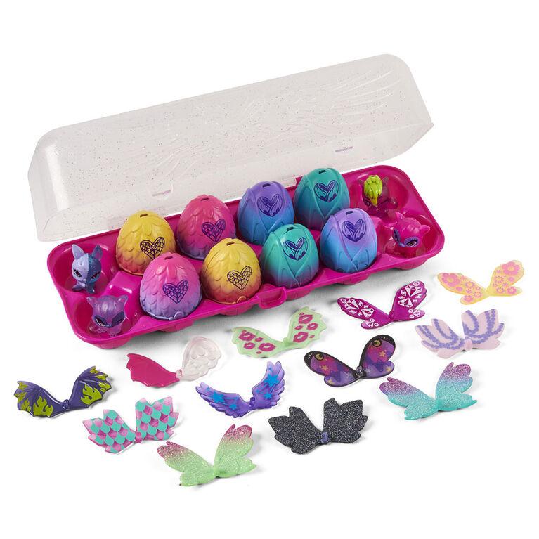 Hatchimals CollEGGtibles, Boîte de 12 œufs Wilder Wings exclusive avec des ailes à combiner