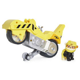 PAW Patrol, Moto Pups Rubble's Deluxe Pull Back Motorcycle Vehicle with Wheelie Feature and Figure