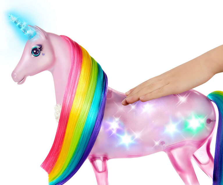 Licorne Lumières Magiques Barbie Dreamtopia avec lumières et sons, et poupée Barbie Princesse avec cheveux roses - Notre exclusivité