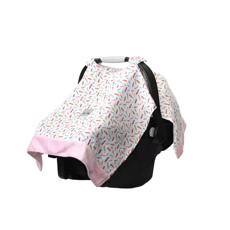 Itzy Ritzy Cozy Happens Car Seat Canopy - Muslin Floating Feathers