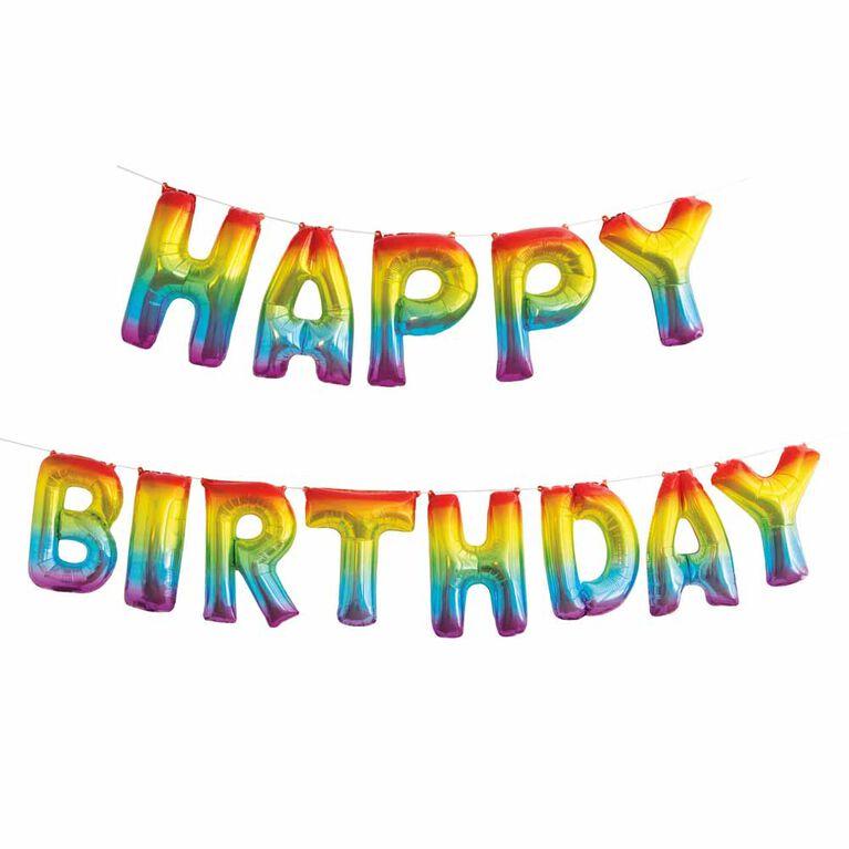 Ensemble De Bannières En Forme De Ballon Avec Lettre ``Happy Birthday`` De Feuille D`Arc-En-Ciel, 14 `` - Édition anglaise