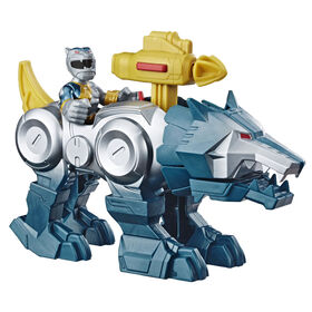 """""""Playskool Heroes Power Rangers Pack double, figurine Ranger argenté de 7,5 cm avec Zord Loup"""""""