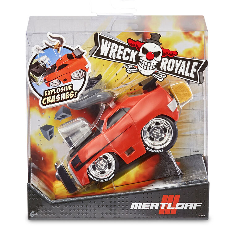 Wreck Royale Exploding Crashing Meatloaf Race Car with 4 Mix 'n Match Explosive Parts