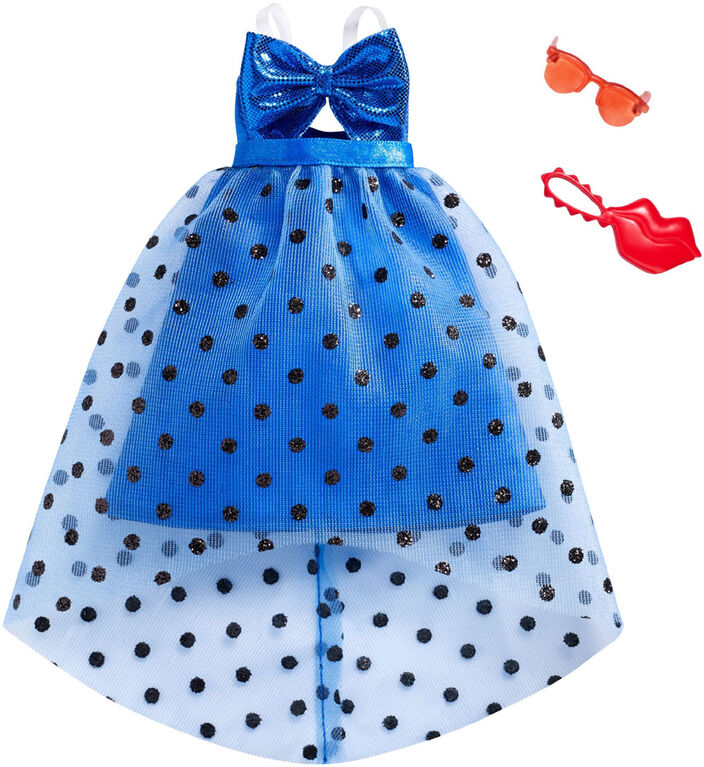 Barbie - Coffret Tenue - Robe à pois bleue.