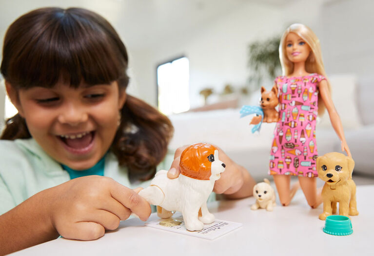 Barbie Doggy Daycare Doll, Pets Playset with Puppy that Poops and One that Pees, Plus Color-Change Paper and More
