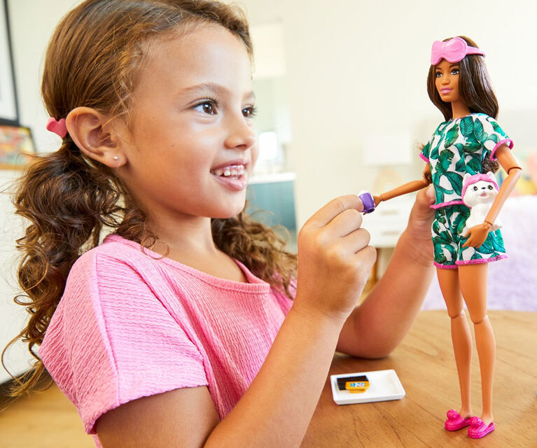 Barbie Relaxation Doll, Brunette, with Puppy and 8 Accessories