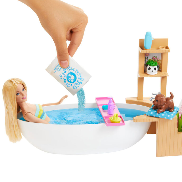 Barbie Fizzy Bath Doll & Playset, Blonde, with Tub, Puppy & More