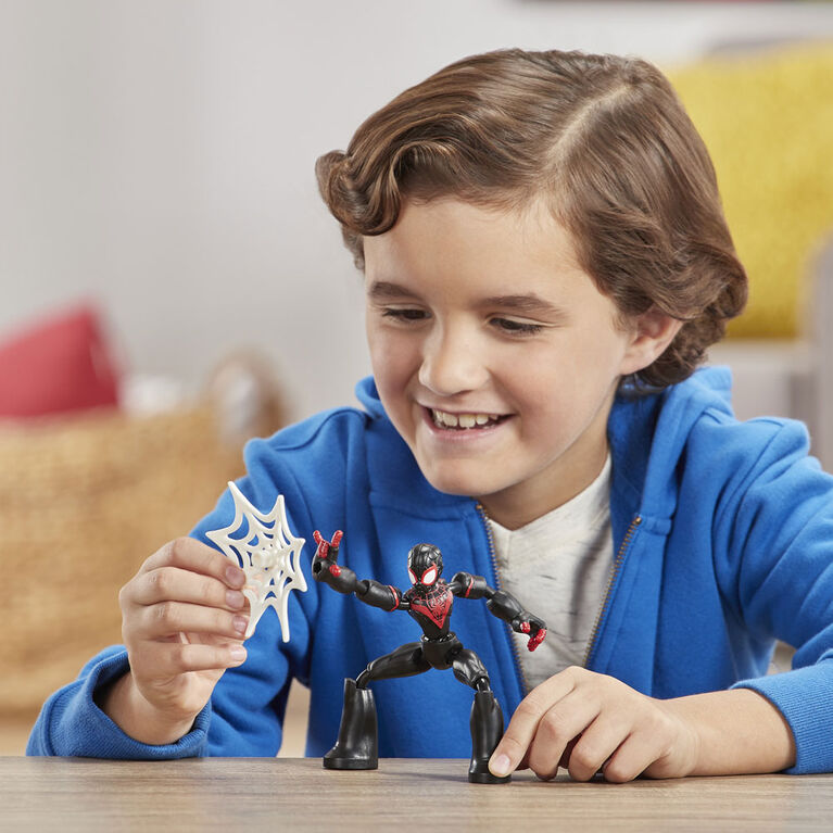 Marvel Spider-Man Bend and Flex Miles Morales Action Figure Toy, 6-Inch Flexible Figure
