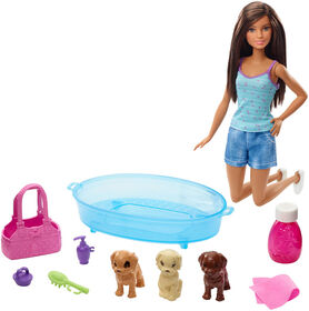 Barbie Doll & Puppy Bath Playset