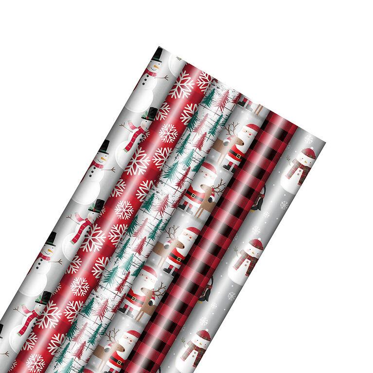Rouleau de papier d'emballage pour les Fêtes – Folk – Motif choisi au hasard – 1 rouleau par commande - Édition anglaise