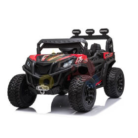 KidsVip 12V Kids and Toddlers Junior Sport Utility Ride On Buggy/UTV w/Remote Control - Red - English Edition