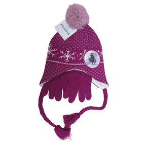 Disney - Frozen II - Girls fleeced lined helmet hat with matching gloves - Purple